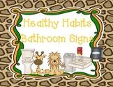 Jungle Themed Healthy Bathroom Habits Signs