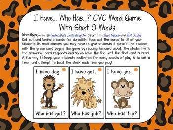 """Jungle Themed """"I have...Who has..?"""" Word Family/CVC Game Bundle"""