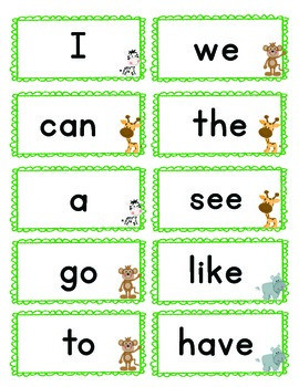 Jungle Themed Kindergarten Sight Word Cards
