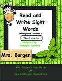 Jungle Themed Kindergarten Sight Word Cards