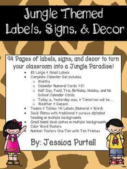 Jungle Themed Labels, Signs,& Decor Mega Pack!