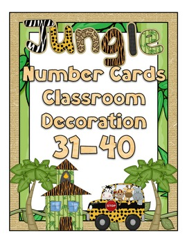 Jungle Theme Number Cards 31-40