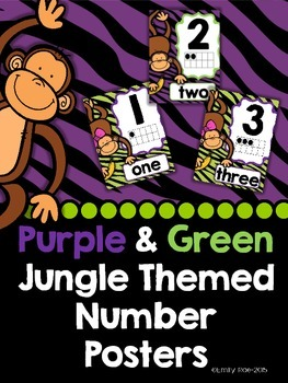 Jungle Themed Number Posters (Purple and Green)