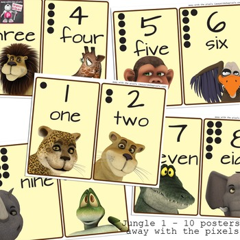 Jungle Themed Numbers Posters - One to Ten