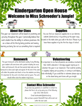 Jungle Themed Open House Papers | EDITABLE