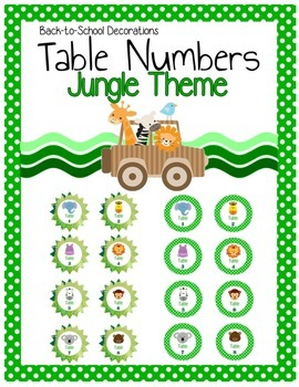 Jungle Themed Table Numbers