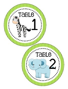 Jungle Themed Table Numbers (only)