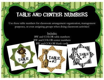 Jungle Themed Table and Center Numbers