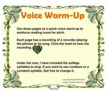Jungle Theme Voice Warm-up with Recordings - Elementary Music - Pitches So Mi La
