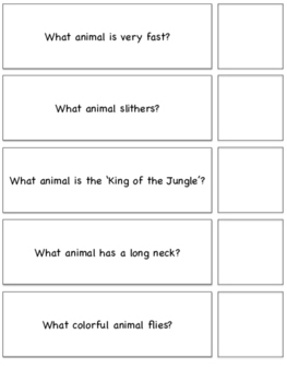 Jungle Themed 'WH' Questions-File Folder Activity