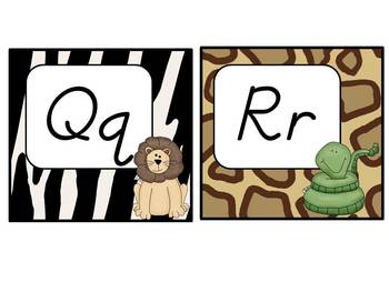 Word Wall Headers: Jungle Themed (D'Nealian with red vowels)