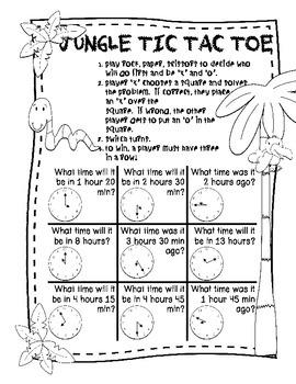Jungle Tic Tac Toe - Math Games & Centers