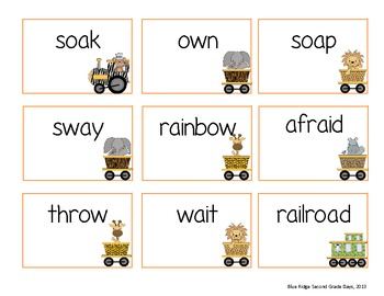 Jungle Train: -Ai, -Ay, -Oa, and -Ow Word Work Activities