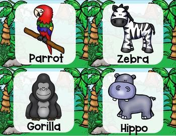 Jungle and Safari Yoga Cards and Printables
