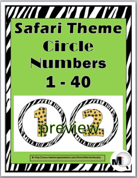 Jungle Theme Classroom Decor - Circle Numbers / Labels 1 - 40