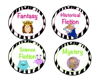 Jungle Zebra Genre Posters Labels for your classroom library