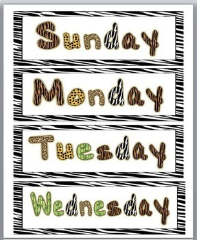 Jungle Theme Classroom Decor Days of the Week & Months of the Year Cards