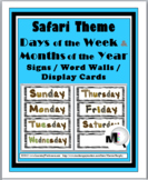 Safari Theme Classroom Decor Days of the Week & Months of the Year Labels