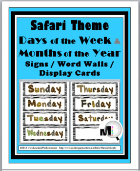 Jungle Theme - Zebra Theme Days of the Week & Months of th