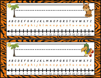 Jungle Zoo Animal Themed Nameplates in D'Nealian Style Font