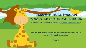 Jungle/ Zoo Themed Classroom Labels