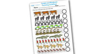 Jungle and Rainforest Counting Worksheet