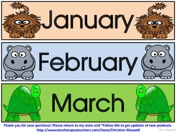 Zoo, Jungle and Wild Animals Calendar Pieces Make Monthly Patterns