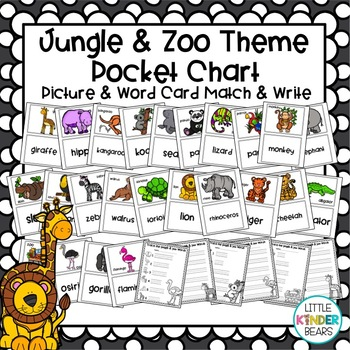 Jungle and Zoo Pocket Chart Pictures and Cards