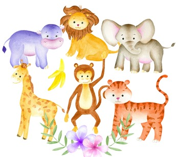 Jungle animals clipart, Watercolor animals, Animal illustration, Zoo