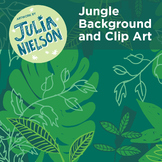 Jungle background and clip art set