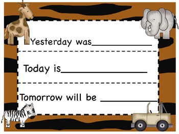 Jungle theme calendar pack