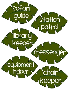 Jungle theme classroom jobs for a pocket chart