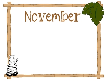 Jungle theme monthly stationary frames