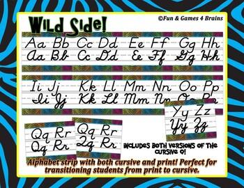 Jungle themed D'Nealian print and cursive Alphabet Strip