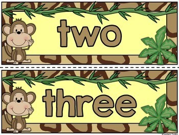 Safari Themed Number Posters and Labels Set Classroom Decor