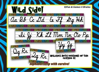 Jungle themed cursive Alphabet Strip