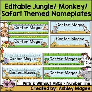 Jungle/Monkey/Safari/African Themed Editable Name plates /Desk Plates /Name Tags