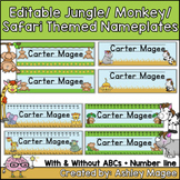 Jungle/Monkey/Safari/African Themed Editable Name plates /