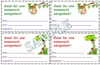 Jungle/Rainforest Themed Homework Passes