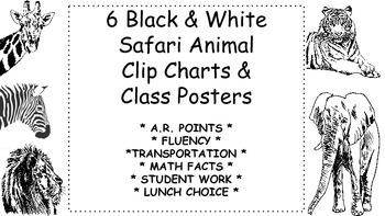 Jungle/Safari Clip Charts & Posters (Black & White Animals)