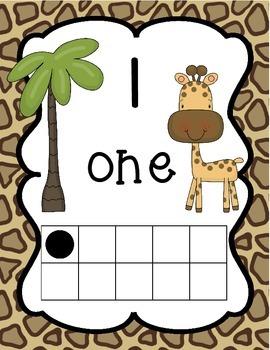 Jungle/Safari Themed Number Posters 0-20