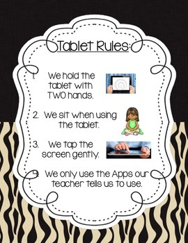 Jungle/Safari Themed Tablet Rules Poster