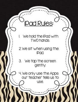 Jungle/Safari iPad Rules Poster