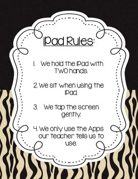 Jungle/Safari iPad Rules Poster