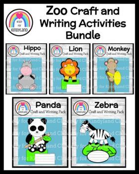 Zoo Craft and Writing Value Pack: Lion, Panda, Monkey, Hippo, Zebra