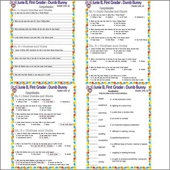 Junie B Dumb Bunny : Comprehension Activity Packet Easter : LINED PAPER