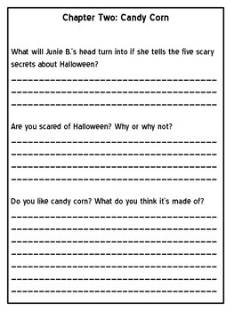 Junie B., First Grader BOO... and I MEAN It! Response Notebook