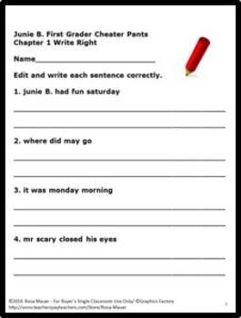 Junie B. First Grader Cheater Pants Book Unit