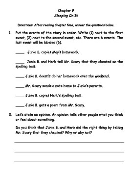 Junie B., First Grader Cheater Pants (Reading Contract & Activity Packet)