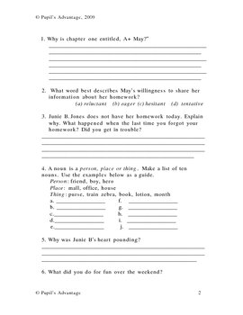 Junie B First Grader Cheater Pants Worksheet